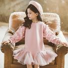 甜美花瓣亮片刺繡內加絨洋裝 童裝 連衣裙 長裙 喜宴服裝