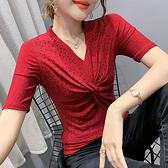 性感短t~重工燙鉆短袖T恤女修身扭結上衣氣質V領洋氣小衫H329日韓屋