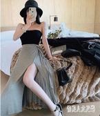 高腰開叉性感半身裙女2020春夏新款蝴蝶結系帶a字裙一片式長裙子CH1179【俏美人大尺碼】
