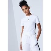 PUMA 短T CLASSICS T7 白 小LOGO 短版 基本款 運動 上衣 女 (布魯克林) 59763102
