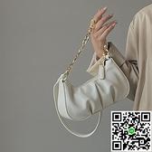時尚女款斜背包褶皺云朵鏈條腋下包餃子包手拎包側背包【風之海】