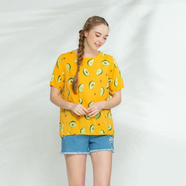 【衣大樂事】酪梨花布短袖上衣