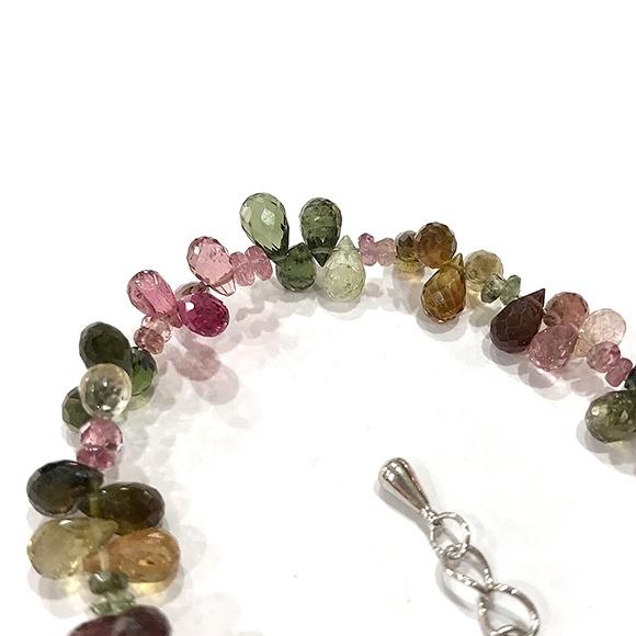 『晶鑽水晶』天然彩色碧璽 特級手鍊 約6-7mm 水滴型 鑽石切角度 超透亮飽滿 精緻飾品 附禮盒