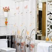 店長推薦 衛生間浴室浴簾套裝免打孔防潑水加厚防霉洗澡隔斷門簾淋浴掛簾子布