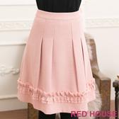 【RED HOUSE-蕾赫斯】異材質拼接打褶及膝裙(共二色)