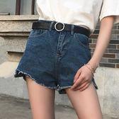 高腰毛邊寬鬆闊腿牛仔短褲