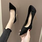 特賣尖頭高跟鞋高跟鞋女10cm秋季新款法式少女性感百搭職業細跟尖頭單鞋