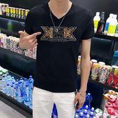 短袖T恤 男士V領男裝半袖上衣服潮流修身打底衫《印象精品》t86