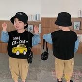 男童衛衣韓版長袖圓領套頭衫拼接假兩件上衣【聚可愛】