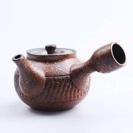 日式茶具 手工粗陶仿古側把壺