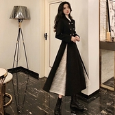 年會禮服 法式赫本風小黑裙女春裝時尚名媛氣質禮服紐扣蕾絲連衣裙【快速出貨八折下殺】