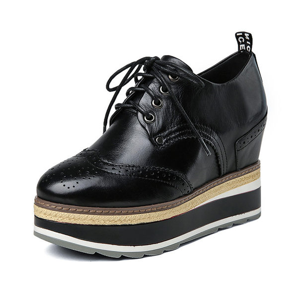 單鞋系帶厚底女單鞋厚底松糕單鞋內增高休閒女鞋潮款   -1092450020