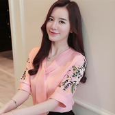 雪紡上衣 短袖雪紡衫女裝夏裝新款韓版刺繡襯衫超仙甜美雪紡上衣T恤女 艾美時尚衣櫥