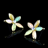 耳環 純銀鍍18K金 鑲鑽-可愛優雅生日情人節禮物女飾品73hz35【時尚巴黎】