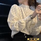 蕾絲打底衫 半高領加厚木耳蕾絲打底衫女秋冬季2021新款內搭韓版洋氣長袖上衣【99免運】