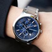 EMPORIO ARMANI 亞曼尼 AR11164 RENATO 藍爵風範三眼計時腕錶 熱賣中!