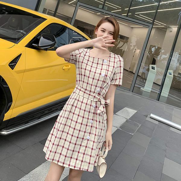 VK旗艦店 韓系復古單排扣系帶收腰格子氣質短袖洋裝