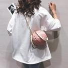 可愛籃球包包女2020新款個性ins百搭小圓包網紅粉色手提斜挎包潮 【夏日新品】