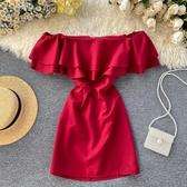 名媛氣質宴會禮服小洋裝裙子chic超仙甜美荷葉邊性感一字肩連衣裙 伊羅 新品