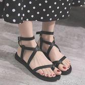 羅馬涼鞋夏季女軟妹平底學生休閒鞋百搭一字扣帶女鞋 全館免運