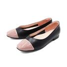 【南紡購物中心】WALKING ZONE (女)方頭拼色娃娃鞋 包鞋 女鞋 -黑粉(另有黑藍)