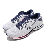 Mizuno 慢跑鞋 Wave Rider 25 白 藍 紅 男鞋 跑鞋 路跑 美津濃 【ACS】 J1GC2152-19