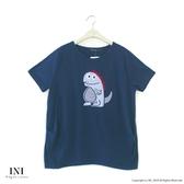 【INI】注目風格、好可愛小恐龍上衣.深藍色