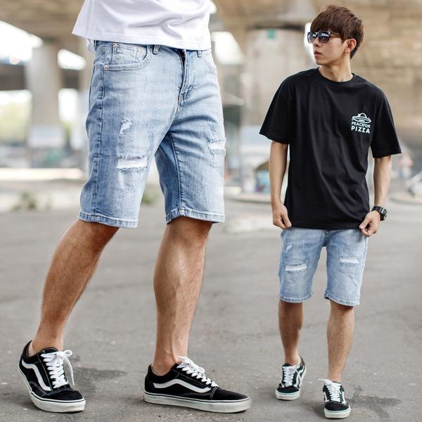 短褲 淺色抓破抽鬚彈性牛仔短褲【NB1045J】