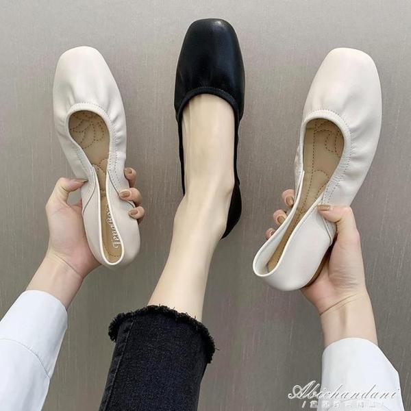 奶奶鞋2020春秋平底方頭樂福鞋兩穿一腳蹬懶人搭豆豆鞋淺口單鞋女 黛尼時尚精品