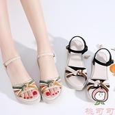平底涼鞋女夏季坡跟厚底時尚中跟百搭【桃可可服飾】