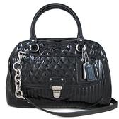 COACH 漆亮菱格紋皮革兩用包 手提包 肩背包 斜背包(黑色)-20721