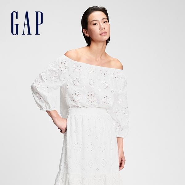 Gap女裝 甜美鬆緊一字領鏤空上衣 682075-白色