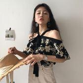 春季韓版花色氣質寬鬆綁帶顯瘦露肩襯衫上衣