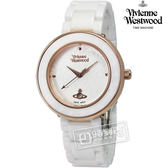Vivienne Westwood / VV124WHWH / ORB London倫敦女孩精緻陶瓷手錶 白x玫瑰金框 33mm