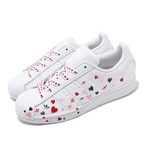 adidas 休閒鞋 Superstar W 白 紅 女鞋 運動鞋 愛心 情人節 【ACS】 FV3289