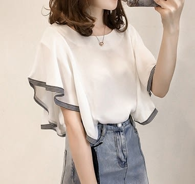 EASON SHOP(GU5319)條紋拼接荷葉袖短袖雪紡衫露背內搭衫女上衣服素色飛鼠袖蝙蝠袖春夏裝韓版寬鬆