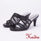 kadia.典雅水鑽網紗高跟拖鞋(9113-95黑色)