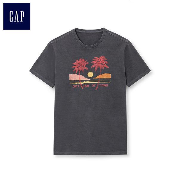 Gap男裝 時尚印花圓領短袖T恤 444196-溫和黑色