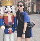 EASON SHOP(GU0493)韓版寬鬆百搭中長款長版圓領短袖女T恤棉T撞色拼色藍色黑色