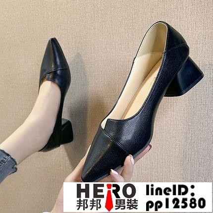 網美高跟鞋女鞋新款韓版春季鞋百搭粗跟單鞋中跟英倫風小皮鞋【邦邦男裝】