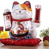 新開運擺件 新款日式陶瓷工藝品10寸搖手招財貓 創意招財貓開業開運擺件 俏女孩