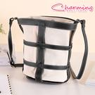 俏咪包 時尚鏤空帆布配皮水桶包[LG-845]