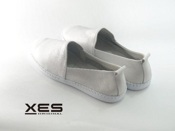 XES 素色小白休閒鞋 軟皮系列 女款 白色