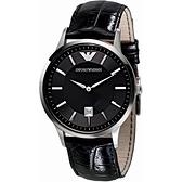 【台南 時代鐘錶 Emporio Armani】亞曼尼 AR2411 日期顯示 皮革錶帶男錶 黑 43mm