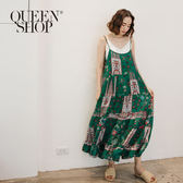 Queen Shop【01084515】變形蟲圖案細肩帶洋裝 兩色售*現+預*