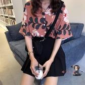 港風襯衫 印花上衣洋氣港風短袖襯衫女復古港味韓版寬鬆學生襯衣新款夏 2色