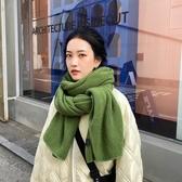 韓版純色針織毛線圍巾女秋冬加厚保暖圍脖男百搭披肩潮