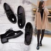 牛津鞋 原宿女鞋春秋英倫學院風學生漆皮單鞋女粗跟繫帶復古小皮鞋女