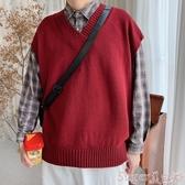 針織馬甲春秋季純色V領針織衫無袖背心男士潮流韓版寬鬆學院風馬甲男外套 交換禮物