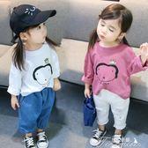 女童T恤 女童長袖T恤12歲3嬰童寶寶純棉圓領上衣兒童打底衫韓版衣服秋款  提拉米蘇